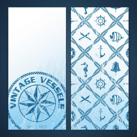 Nautical flayers with seafaring elements - mariners compass and rope pattern Vector