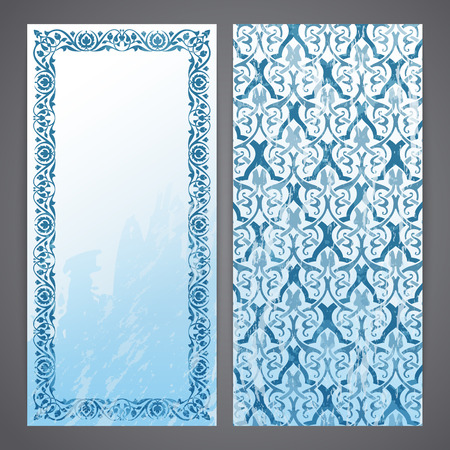 interlace: Flayers with arabesque decor - ottoman floral pattern Illustration