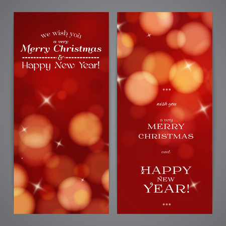 flayers: Merry Christmas and Happy New Year flayers, red bokeh effect
