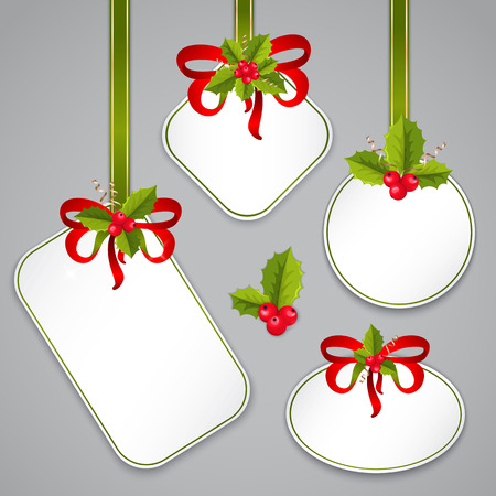 aquifolium: Merry Christmas and Happy New Year tags with holly berries and bows