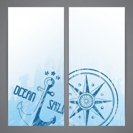 seafaring: Desolladores n�uticos con elementos marineros - br�jula y el ancla de marinero Vectores