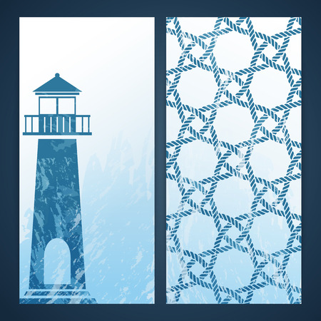 Nautical flayers with seafaring elements - lighthouse silhouette and  rope pattern Illustration