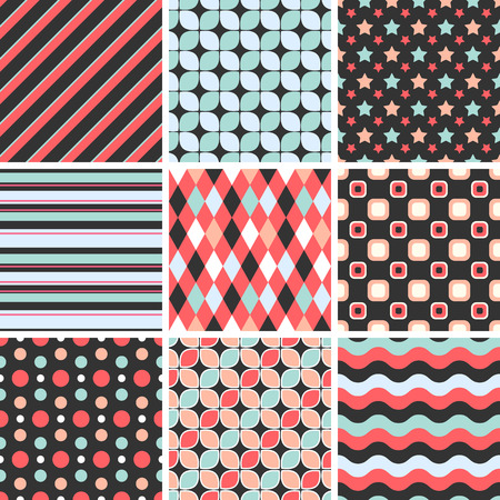 seamless tiling patterns - geometric.  Illustration