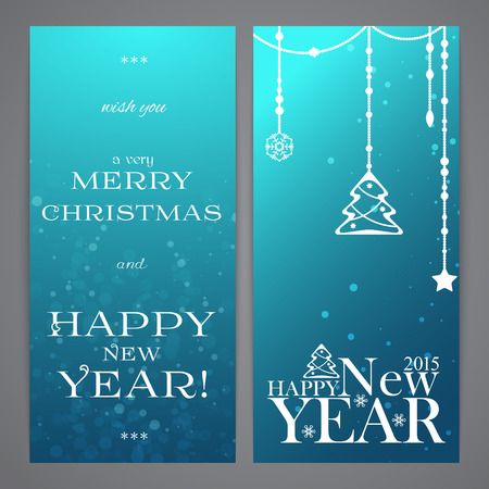 flayers: Merry Christmas and Happy New Year flayers, blue bokeh effect Illustration