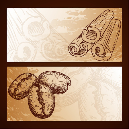 Food flayers with hand drawn elements - coffee and cinnamon Vector