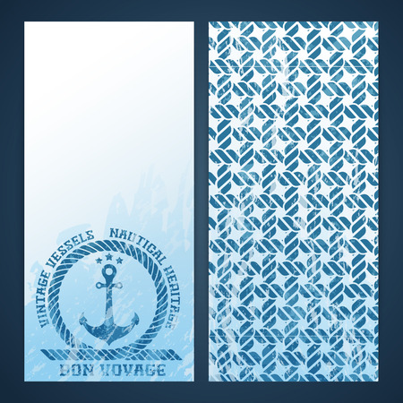 Nautical flayers with seafaring elements - anchor and rope pattern Vector