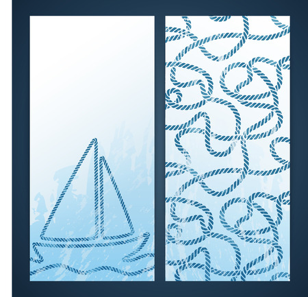 Nautical flayers with seafaring elements - knots and  rope pattern Vector