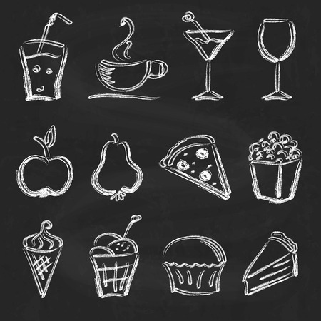 Ink style hand drawn sketch set  - food, drinks, ice cream on chalkboard  background