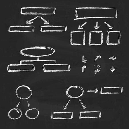 Arrows and diagrams on chalkboard  background Vector
