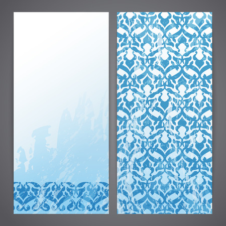 Flayers with arabesque decor - ottoman floral pattern Vector