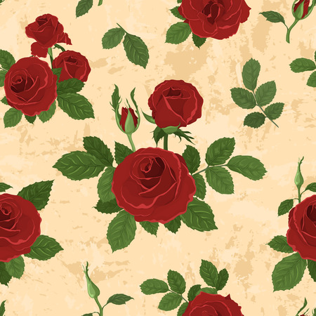 Vector seamless tiling pattern with roses. For printing on fabric, scrapbooking, gift wrap. Vector
