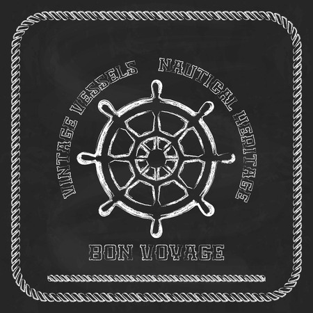 Sailing badge with ship wheel, rope border on chalkboard  background Vector