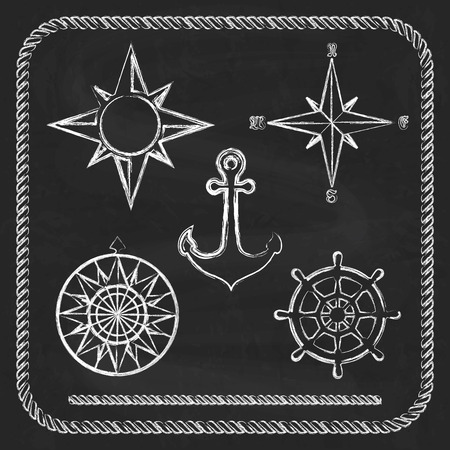 Nautical symbols - compass, anchor on chalkboard  background Vector