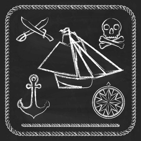 Pirate icons - sloop, cutlass and Jolly Roger on chalkboard  background Vector