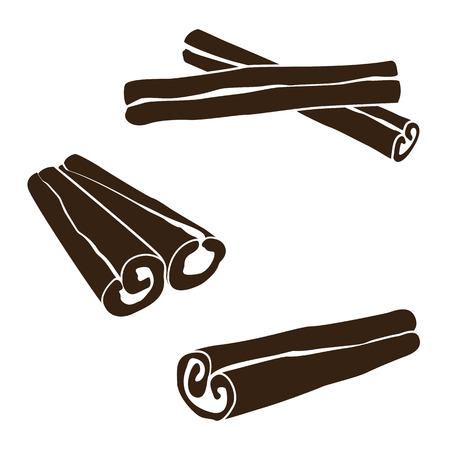 Silhouettes of cinnamon sticks, hand drawn vector illustration Vectores