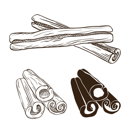 cinnamon sticks: Silhouettes of cinnamon sticks, hand drawn vector illustration Illustration