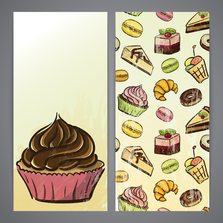 Flayers with cupcakes, donuts, pie and other desserts Vector