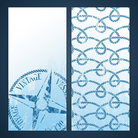 Nautical flayers with seafaring elements - wind rose and rope pattern