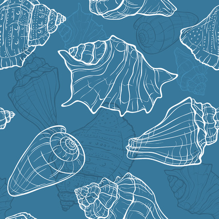 cockleshell: Seamless vector pattern with hand drawn seashells Illustration
