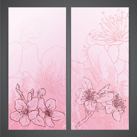 flayers: Flayers with flowers - apple blossoms drawing. Ink style vector