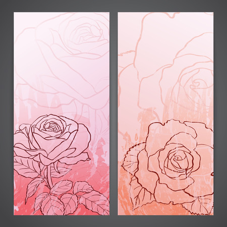 rosaceae: Flayers with flowers - roses. ink style drawing Illustration