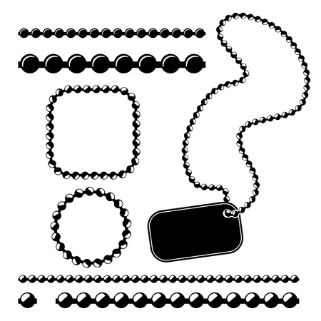 ball and chain: Ball chain frames, vector stencil for borders, dividers Illustration