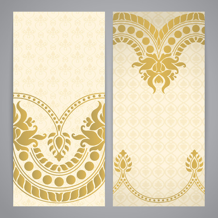 flayers: Flayers with floral decor - indian floral pattern in gold color Illustration