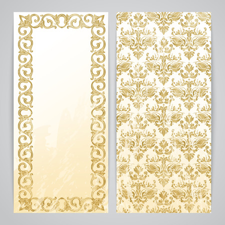 Flayers with floral decor - floral pattern in gold color