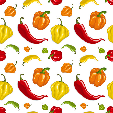 Seamless vector pattern with chili peppers - jalapeno, paprika, cayenne Illustration