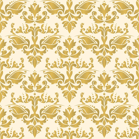 ottoman fabric: Vector seamless tiling pattern - gold ottoman ornament. For printing on fabric, scrapbooking, gift wrap. Illustration