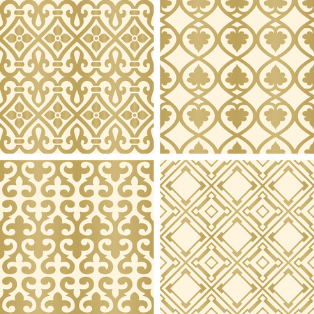 ottoman fabric: Vector seamless tiling patterns - gold ottoman ornaments. For printing on fabric, scrapbooking, gift wrap.