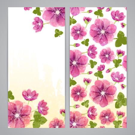 hepatica: Flayer templates for romantic shabby Hepatica flowers