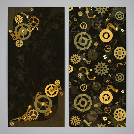 steampunk: Flayer templates with bronze steampunk decor