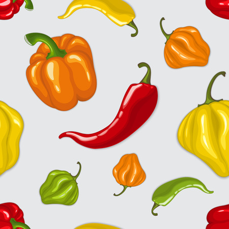 cayenne: Seamless vector pattern with chili peppers - jalapeno, paprika, cayenne Illustration