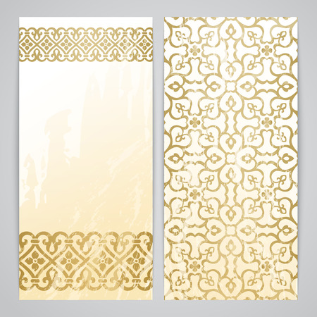 arabesque antique: Flayers with arabesque decor - ottoman floral pattern in gold color