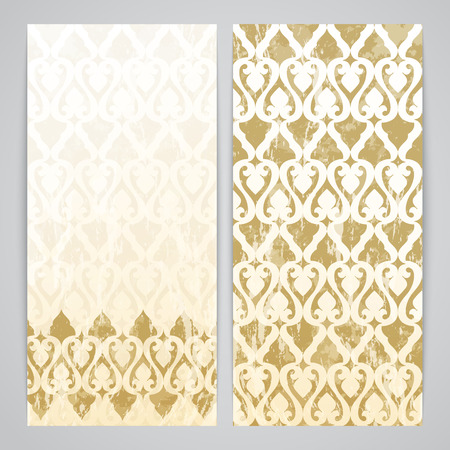 moresque: Flayers with arabesque decor - ottoman floral pattern in gold color