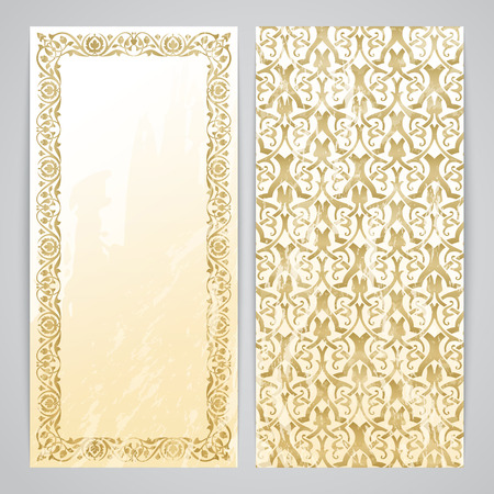 Flayers with arabesque decor - ottoman floral pattern in gold color