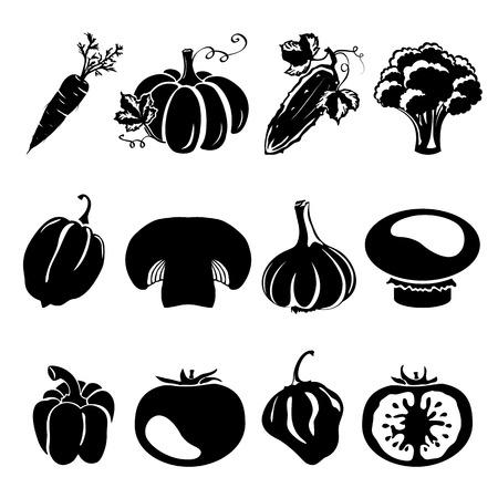 zanahoria caricatura: Siluetas estilo de dibujo - diferentes verduras, pepino, zanahoria, champi�ones, tomate