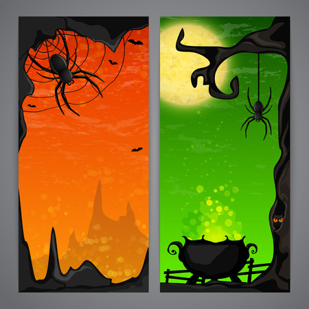 magic cauldron: Magic Halloween flayer with witch cauldron and spider cave