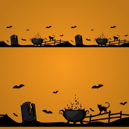 magic cauldron: Magic Halloween border with witch cauldron