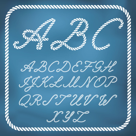 nautical rope: Letters made from nautical rope - hand written font