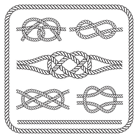 nudo: Nudos de la cuerda náutica. Vectores