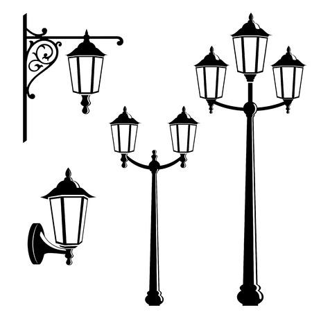 Graphic vintage street lantern silhouettes