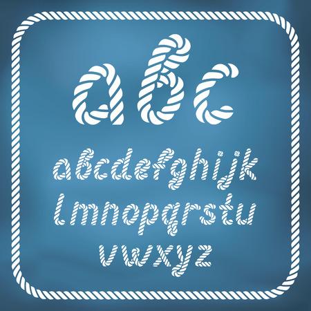 편지는 해상 로프로 만든 - 손으로 쓴 글꼴입니다. 대문자 가능합니다.