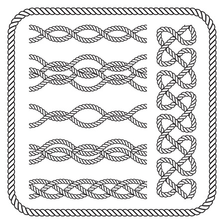 Decorative seamless nautical rope borders