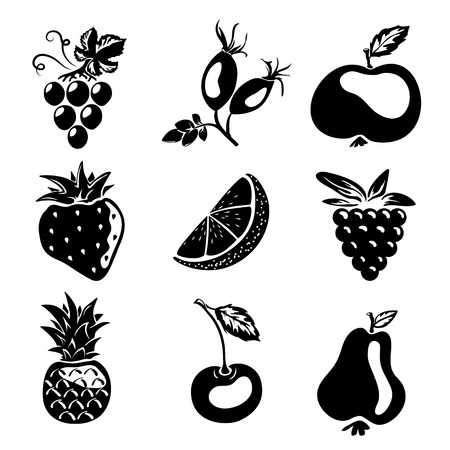 eglantine: Sketch style silhouettes - different fruits and berries, apple, pear, cherry, lemon, rose hip
