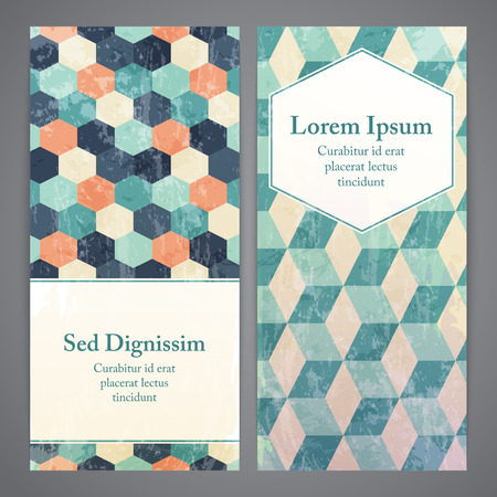 flayers: Flayers with retro patterns - geometric. Textured grunge patterns for vintage and hipster invitation or banner.