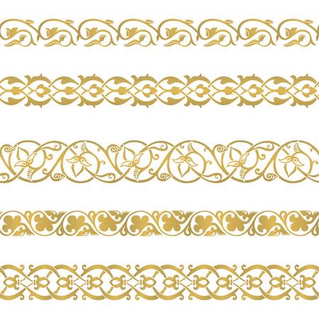 Naadloze bloemen tegels grenzen. Geïnspireerd door oude Ottomaanse en Arabische ornamenten Stockfoto - 42747573