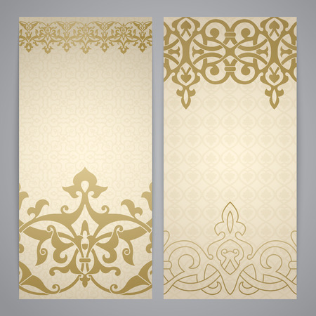 flayers: Flayers with arabesque decor - ottoman floral pattern in gold color