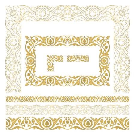 ornament frame seamless floral tiling borders and frame inspired by old ottoman and arabian
